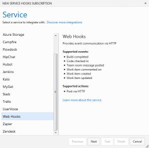 Service Hooks Konfiguration